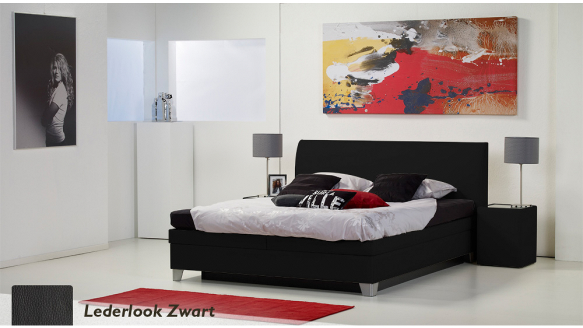 waterbed luxe box pro lederlook zwart