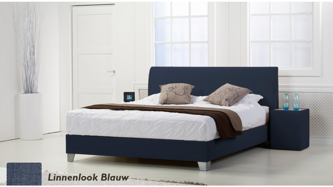 waterbed basic box pro linnenlook blauw boxspring-look