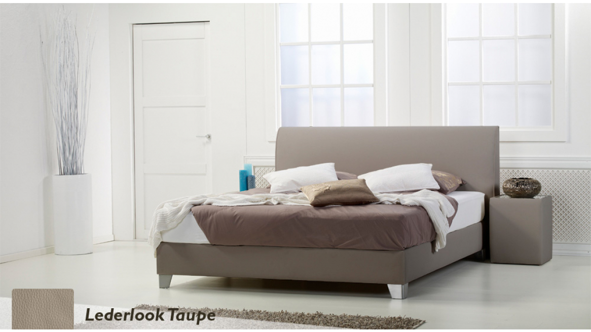 waterbed basic box pro lederlook taupe boxspring-look