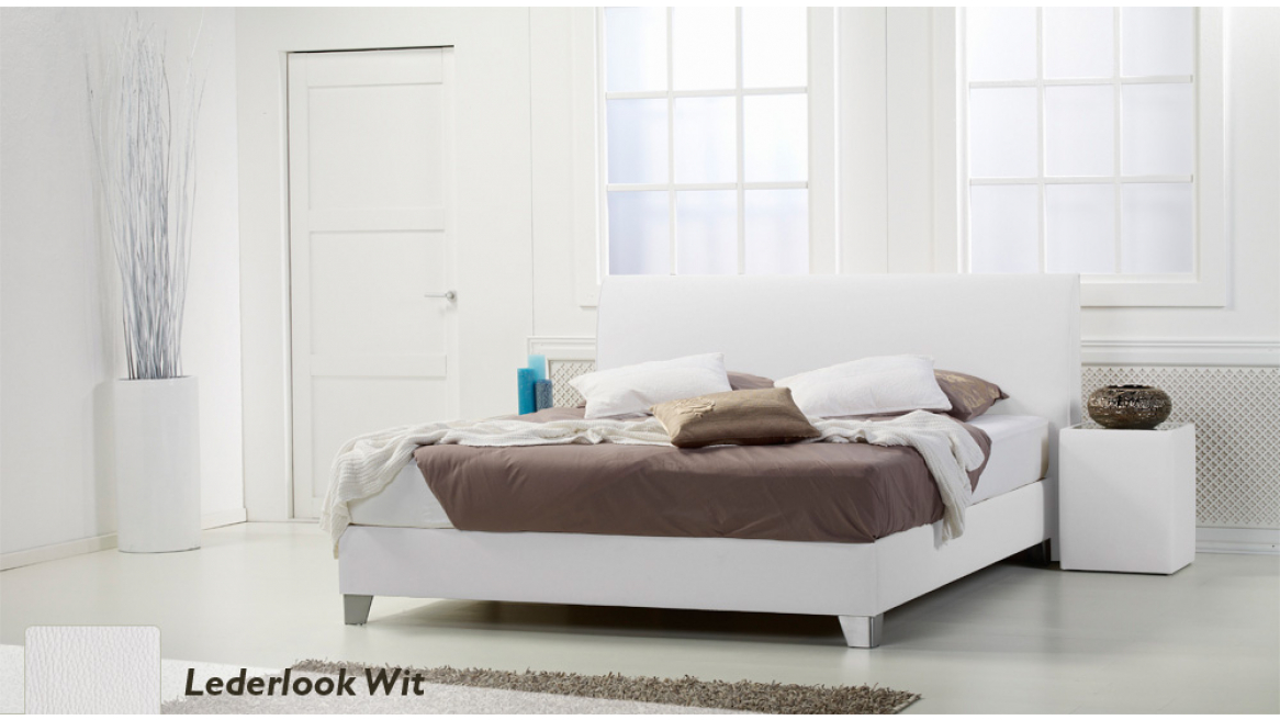 waterbed basic box pro lederlook wit boxspring-look