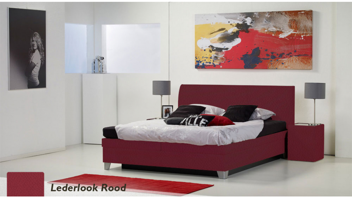 waterbed luxe box pro lederlook rood