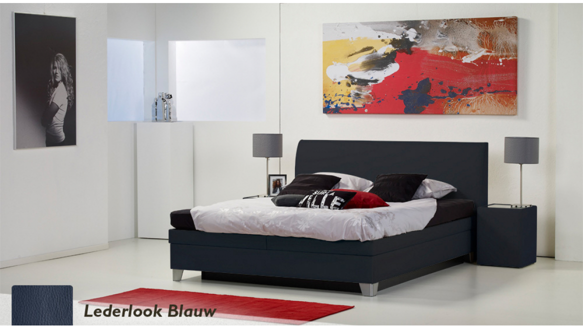 waterbed luxe box pro lederlook blauw
