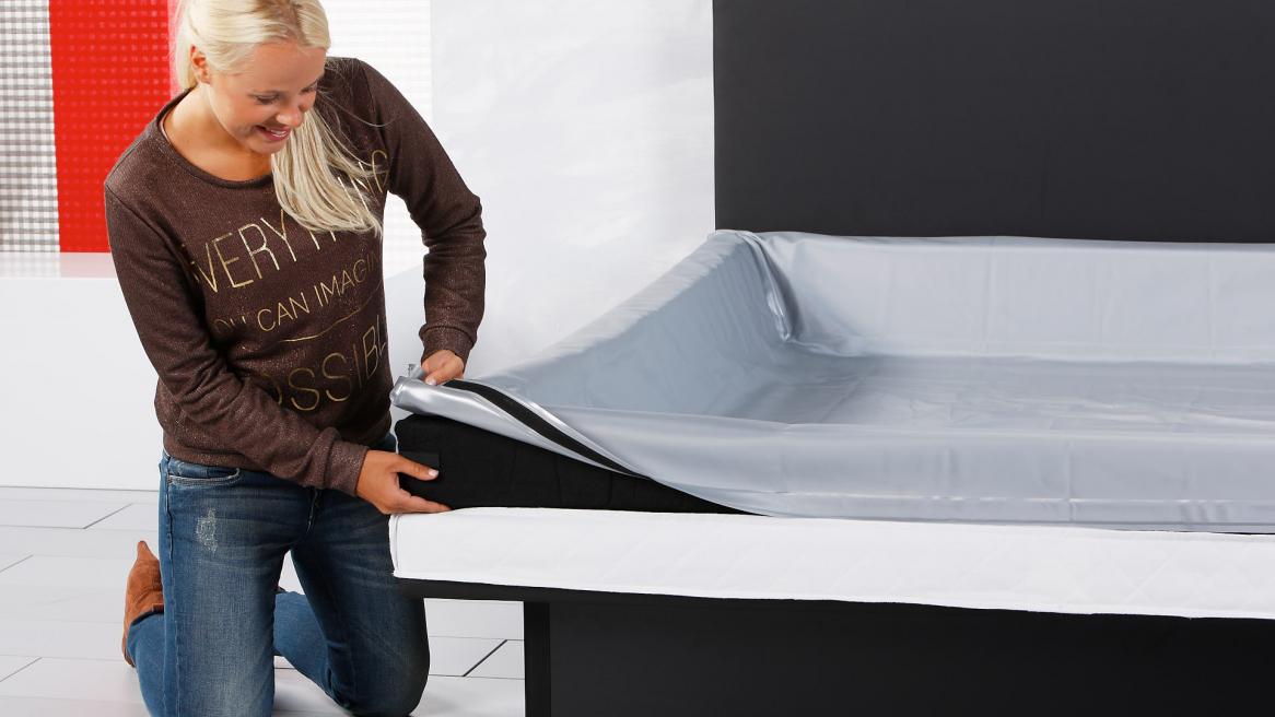 waterbed luxe veiligheidsvoering om de schuimranden vouwen
