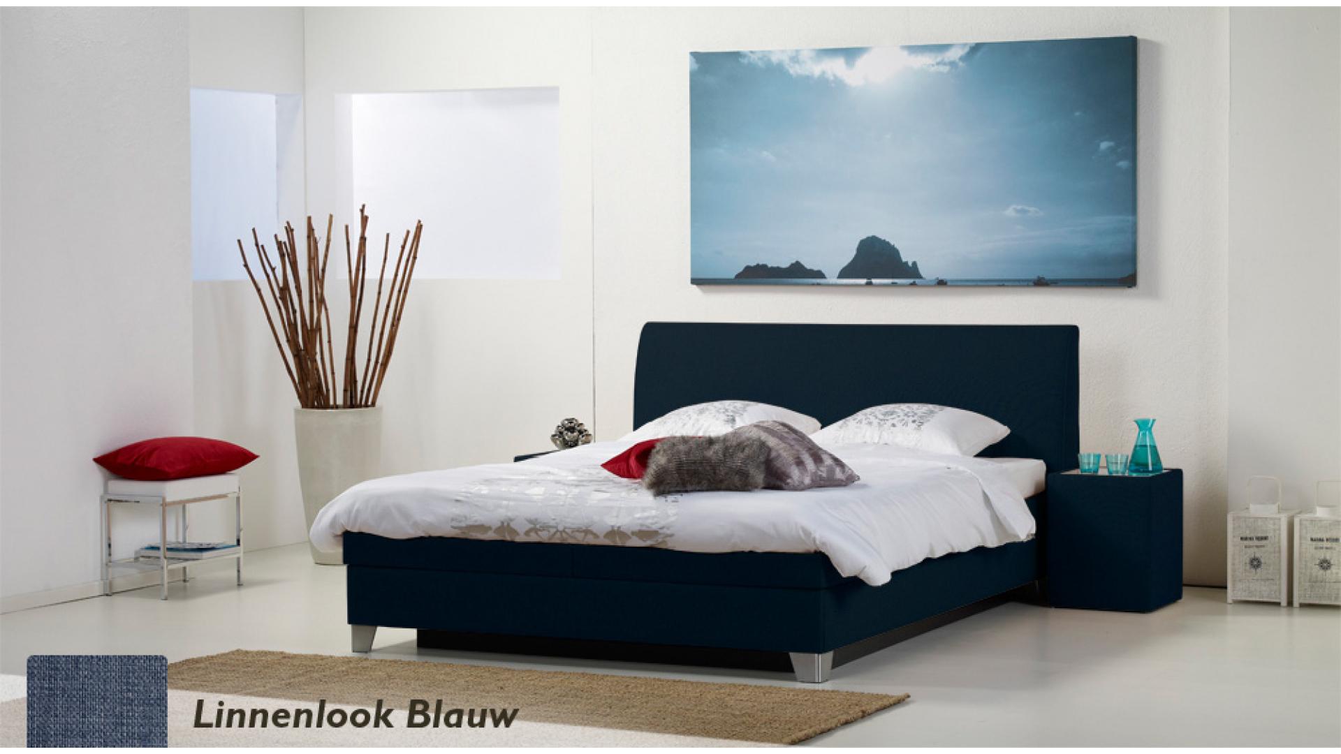 waterbed luxe box pro linnenlook blauw